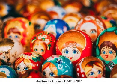 Colorful Russian Nesting Dolls Matreshka At Market. Matrioshka Babushka Nesting Dolls Are Most Popular Souvenirs From Russia.