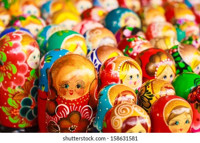 Colorful Russian nesting dolls matreshka at the market. Matrioshka Babushkas Nesting dolls are the most popular souvenirs from Russia.