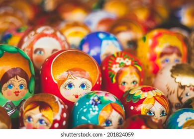 Colorful Russian Nesting Dolls Matreshka At The Market. Matrioshka Babushka Nesting Dolls Are The Most Popular Souvenirs From Russia.