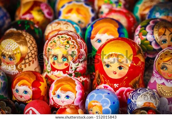 Colorful Russian nesting dolls matreshka at the market. Matrioshka Nesting dolls are the most popular souvenirs from Russia.