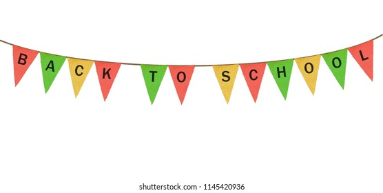 Colorful sack cloth pennants to create pennant flag message of Back to School isolated against white background