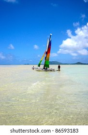 Colorful Sailboat at Hawaiian Sandbar