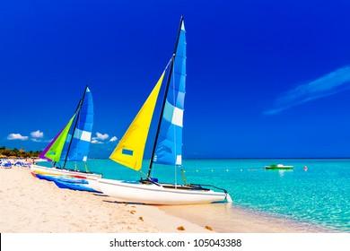 Colorful sailing  boats on the beautiful Varadero beach in Cuba