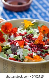 Colorful salad with flowers