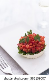 Colorful salad with parsley, cheese and red pepper