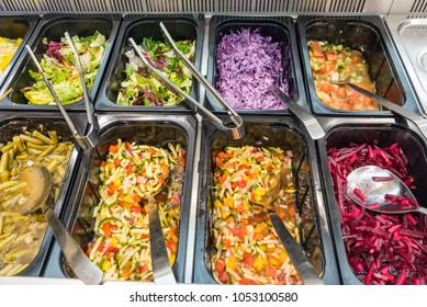 Colorful salads at a buffet in a restaurant