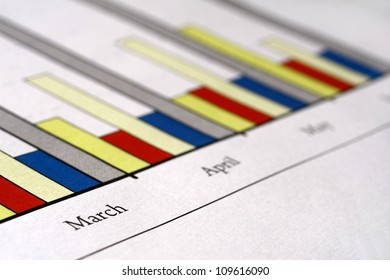 Colorful sales charts with ball pen.