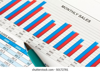 Colorful sales report with a ball pen