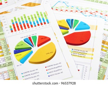 Colorful Sales Report in Statistics, Graphs and Charts