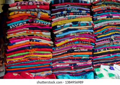 Colorful Salwar Kameez which is one of the popular indian dress is on sell in the local market during festival of eid and diwali.