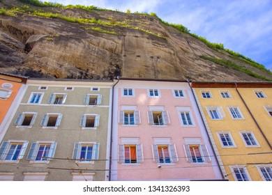Colorful Salzburg bulidings on the Anton Neumayr square