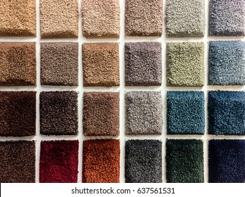 Colorful samples of a carpet covering.
