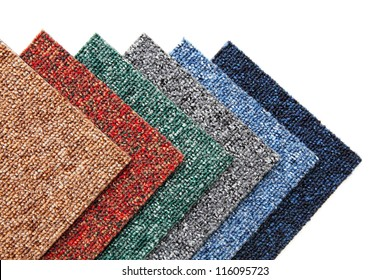 colorful samples of carpet tiles