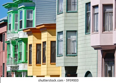 Colorful San Francisco houses in a row (vertical composition)
