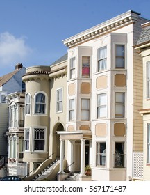 Colorful San Francisco Row Houses on rolling streets