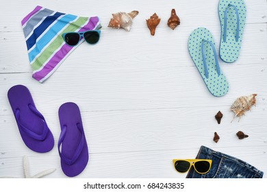 colorful sandals isolated on white background