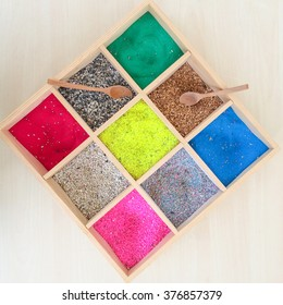 colorful sands and rocks in wooden box, art Aquarium Fish Tank Gravel Stones and sand Color