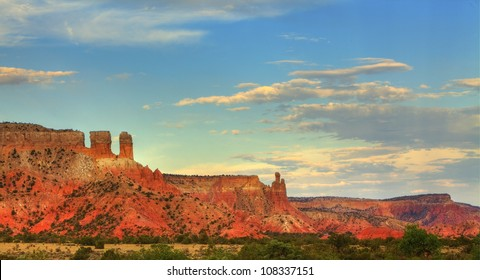 Colorful sandstone at sunset in Georgia O'Keefe country, Abiquiu, New Mexico