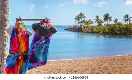 Colorful sarongs on display at markets on the beach