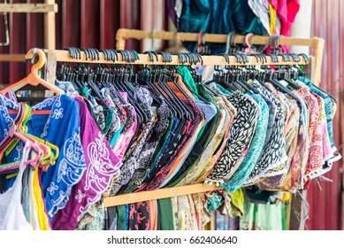 Colorful Sarongs on Sale in the Market at Ubud in Bali, Indonesia.Traditional Batik Sarong in Asian