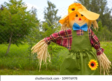 Colorful scarecrow is dressed in clothes at garden