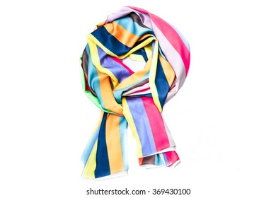Colorful scarf on the white background.