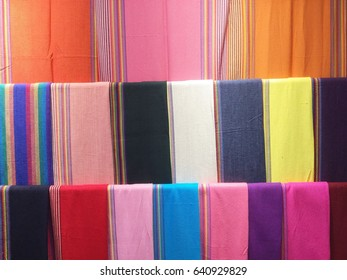 Colorful scarves. Colors of textiles. for background