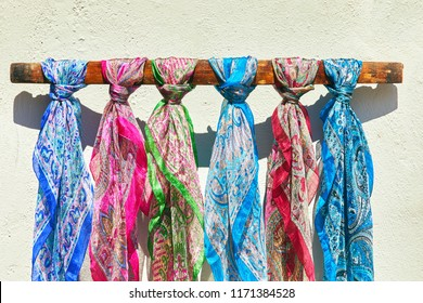 colorful scarves made of silk