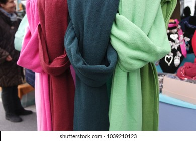 Colorful scarves at market