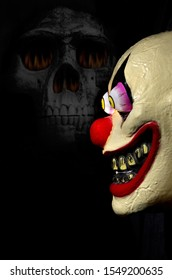 Colorful Scary Ugly Clown Mask with Human Skull on Dark Background Vertical