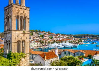 Colorful scenery in mediterranean town Hvar, famous travel place on Adriatic Sea, Croatia. / Selective focus.