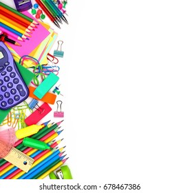 Colorful school supplies side border against a white background