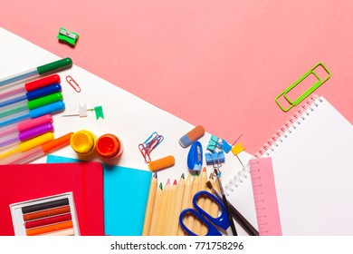 Colorful school supplies top view