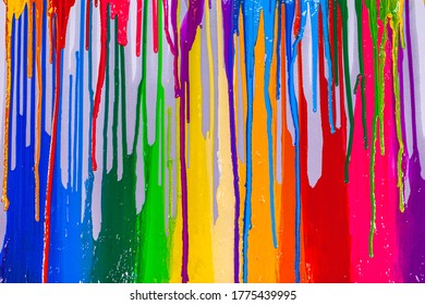 colorful of screen printing ink are dripping on white background