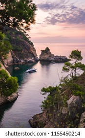 Colorful sea coast landscape at twilight. Hiking in the beautiful wilderness along the coast. Vacation destinations.