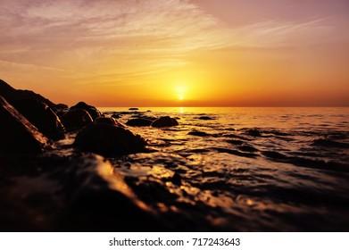 colorful sea sunset, beautiful background