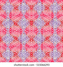 Colorful seamless hand drawn ethnic pattern. Unusual boho motif for fabric, textile, paper, cloth. Bright tribal ornament with fantastic colors. Repeating gouache blots for your design