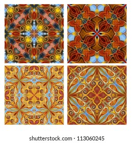 Colorful seamless tiling ornamental texture collection