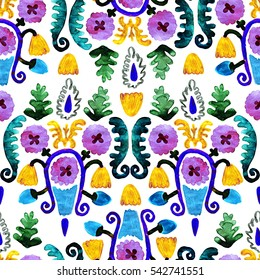 Colorful seamless violet flowers primitive style. Beautiful floral pattern on white background. Oriental hand-drawn raster watercolor illustration.