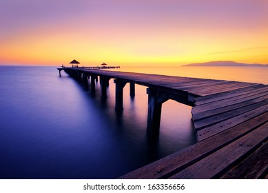 colorful of seascape before sunrise