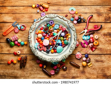 Colorful seed beads of different sizes.Handicraft,beads.Hobby and handmade