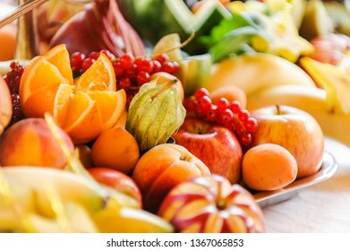 Colorful selection of fresh and juicy tropical fruits, close up