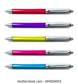 Colorful set of ballpoint pen isolated on white background