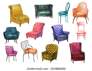 Colorful set of different chairs in watercolor style to use in illustration, scene, background, interior design. Hand drawn icons of leather armchairs and sofa isolated on the white background.
