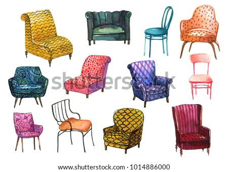 Colorful Set Of Different Chairs In Watercolor Style To Use In  Illustration, Scene, Background