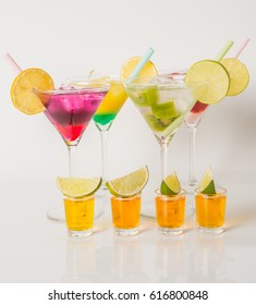 Colorful set of drinks, color drink decorated with fruit, color shots, party set