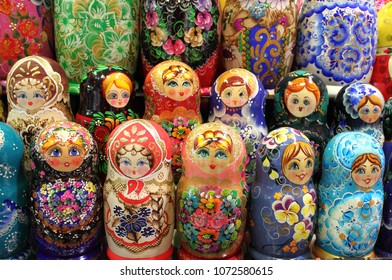 Colorful set of matrioskas, the typical doll of Russia