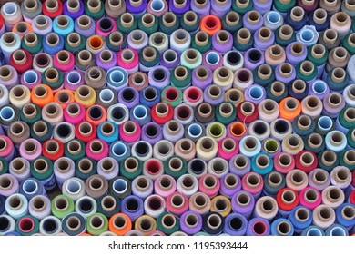 Colorful sewing threads and yarns background