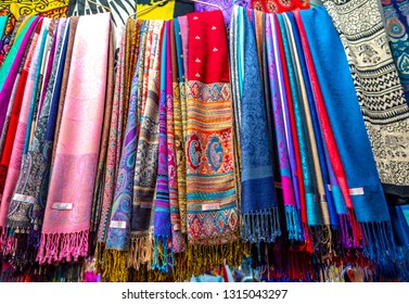 colorful Shawls in a shop, pattern of multi color  shawls