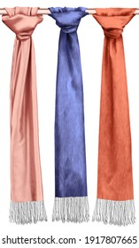 colorful shawls. silk-colored shawl. silk fabric.Silk scarf and shawl. Shawl in trendy colors.